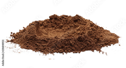 Fotografie, Obraz  Cocoa powder pile isolated on white background