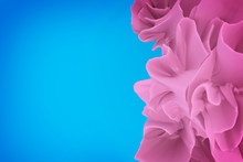 Blue And Pink Abstraction. Rose Flounces Or Petals On A Blue Background. 3D Rendering.