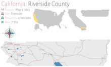 Large And Detailed Map Of Riverside County In California, USA