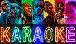 canvas print picture African-american and caucasian jazz musicians singing a song on gradient colorful background. Concept of music, hobby. Retro portrait of male and female singers. Karaoke. Creative collage of 6 models.