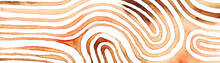 Brown Abstract Stripes Watercolor Horizontal Background. Inspired By Tribal Body Paint. Raster Banner Template.