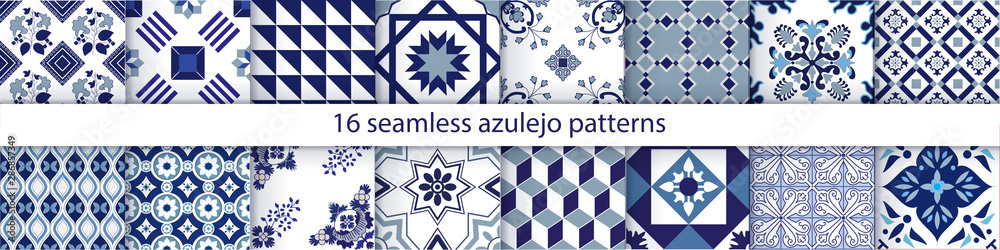Fototapeta Traditional decorative color  portuguese set of seamless vector patterns. The tile is azulejo. Geometric patterns and backgrounds for your design. Vector illustration.