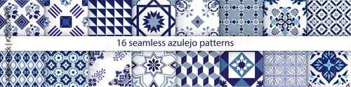 Traditional decorative color  portuguese set of seamless vector patterns. The tile is azulejo. Geometric patterns and backgrounds for your design. Vector illustration. - 286857349