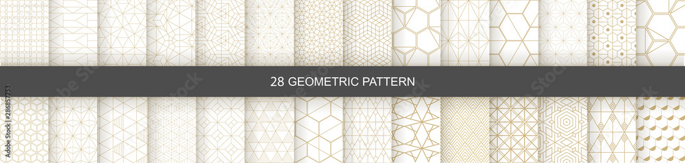 Fototapeta Set of Geometric seamless patterns. Abstract geometric  hexagonal  graphic design print 3d cubes pattern. Seamless  geometric cubes pattern.