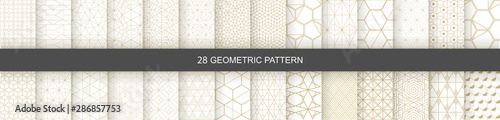 Obraz Set of Geometric seamless patterns. Abstract geometric  hexagonal  graphic design print 3d cubes pattern. Seamless  geometric cubes pattern. - fototapety do salonu