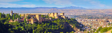 Panoramic View Of The Alhambra And Granada And The Sacromonte In Spain.