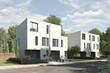 canvas print picture - Doppelhäuser weiss geputzt