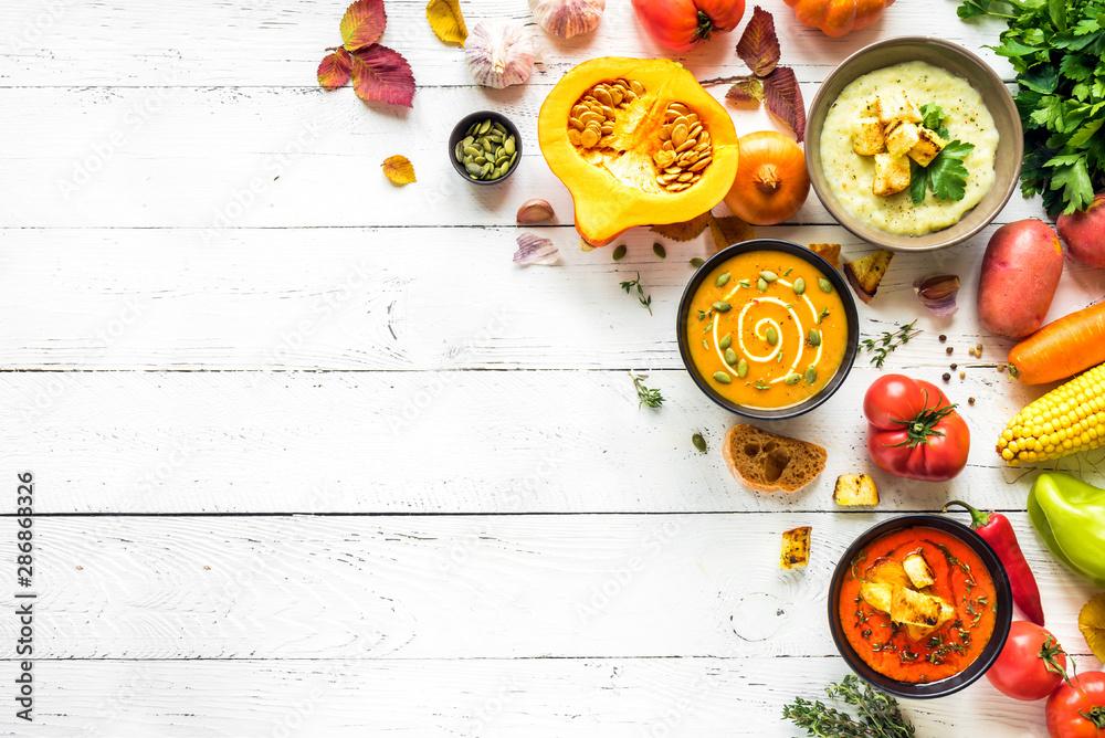 Fototapeta Autumn soups set