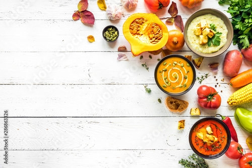 Foto op Canvas Eten Autumn soups set