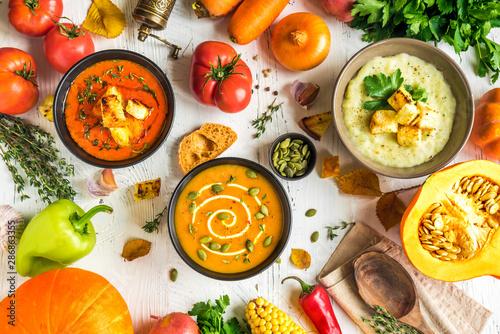 Fototapeta Autumn soups set obraz na płótnie