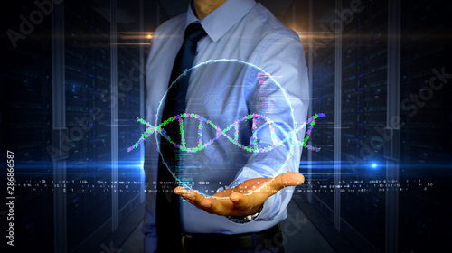 Photo Businessman with biotechnology and DNA helix hologram