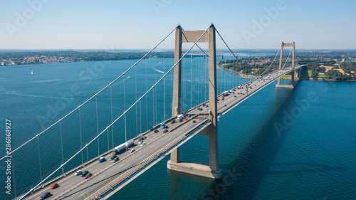 Acrylic Prints Green blue New Little Belt Bridge in Denmark