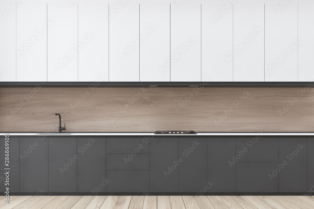Fototapety, obrazy: Wooden kitchen interior with gray countertops