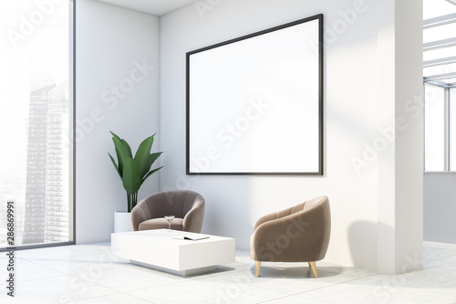 fototapeta na drzwi i meble White office lounge with beige armchairs