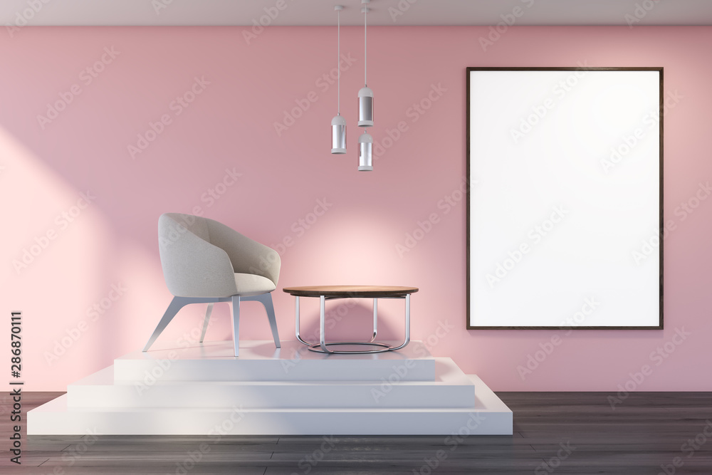 Fototapety, obrazy: Pink living room with stairs, armchair and poster