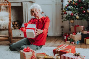 Obraz na płótnie Canvas Happy old lady is holding Christmas present