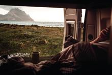 View Fromcamper Van On Beach...