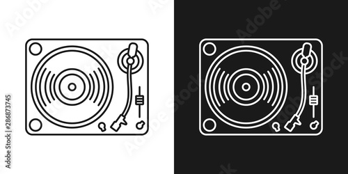Fotografia Set of two simple linear vinyl player icons