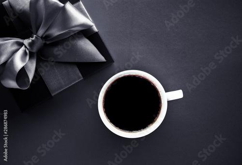 Fototapeta Luxury coffee brand, cup and gift box on black flatlay background obraz na płótnie