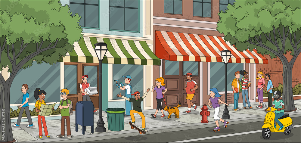 Fototapety, obrazy: Street of a city with cartoon young people