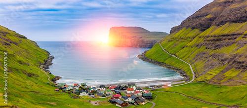 Obraz Tjornuvik Beautiful Scandinavian Village, Located On The Faroe Islands, sit on the north coast of Streymoy, - fototapety do salonu