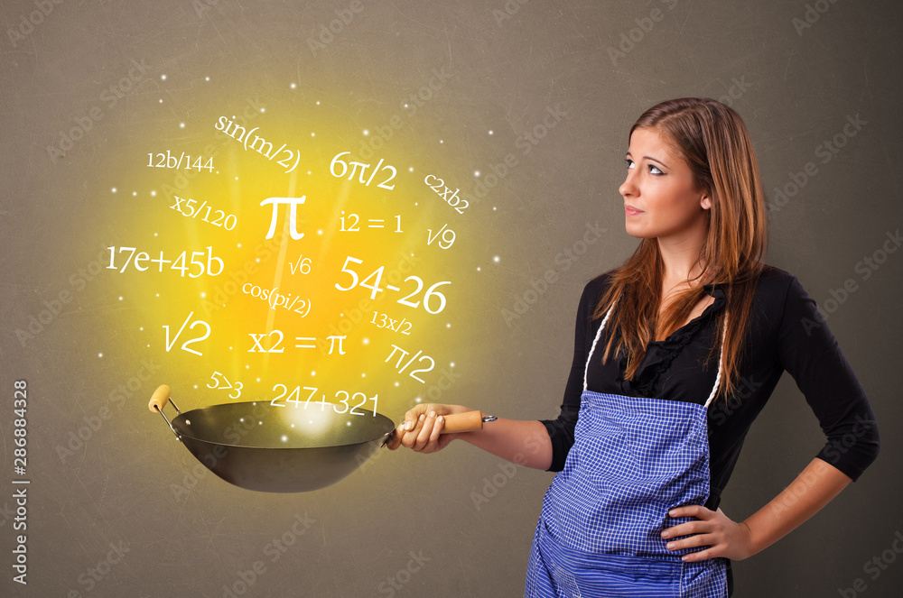 Fototapeta Person cooking numbers and mathematical staffs