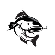 Swimming Jump Catfish Art Logo Design Inspiration