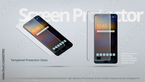 Screen Protector Tempered Transparent Glass AD Template Wallpaper Mural