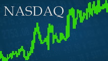 The NASDAQ Composite, A U.S. Stock Market Index Of The Common Stocks Is Going Up. A Green Graph Next To The Silver NASDAQ Title On A Blue Background Shows Upwards, Symbolizing The Ascent Of The Index.