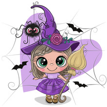 Cartoon Witch In Purple Dress ...