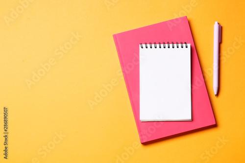 Montage in der Fensternische Spirale Notebook with pen on an orange background.