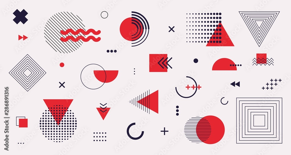 Fototapety, obrazy: Memphis design elements mega set. Vector abstract geometric line graphic shapes, modern hipster circle triangle template colorful illustration