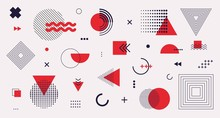 Memphis Design Elements Mega Set. Vector Abstract Geometric Line Graphic Shapes, Modern Hipster Circle Triangle Template Colorful Illustration