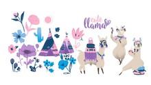 Cute Cartoon Llama Set - Funny Alpaca Dancing, Traveling And Drinking Tea.