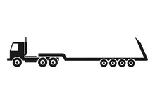 Truck With A Trawl. Black Silhouette. Vector Drawing. Side View. Isolated Object On A White Background. Isolate.