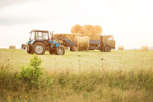 Tractor Loading Of Bales Of Ha...