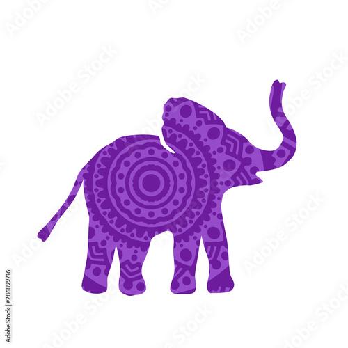 Cuadros en Lienzo Elephant Filled with Mandala Pattern. Vector