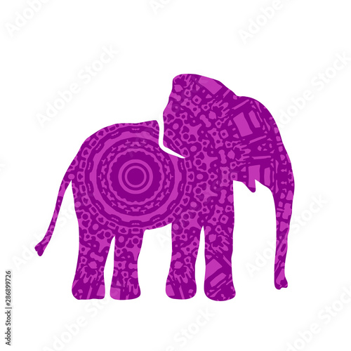 Cuadros en Lienzo Elephant Filled with Mandala Pattern. Vector
