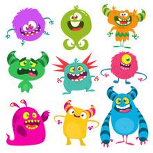Funny Cartoon Monsters Set. Ve...