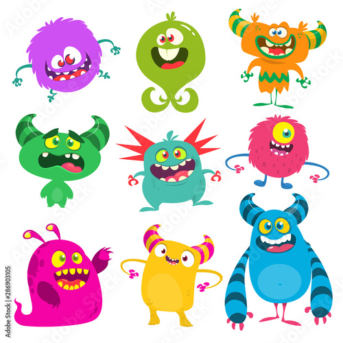 Fotomural Funny cartoon monsters set. Vector illustration