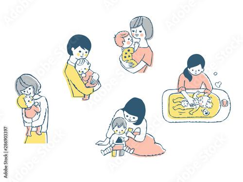 Obraz ママと赤ちゃん セット ピンク - fototapety do salonu
