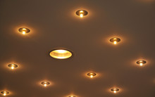 Recessed Halogen Lamps Built In A Ceiling