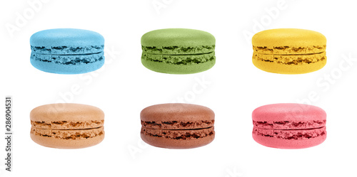 Set of macaron cookies isolated on white Tableau sur Toile
