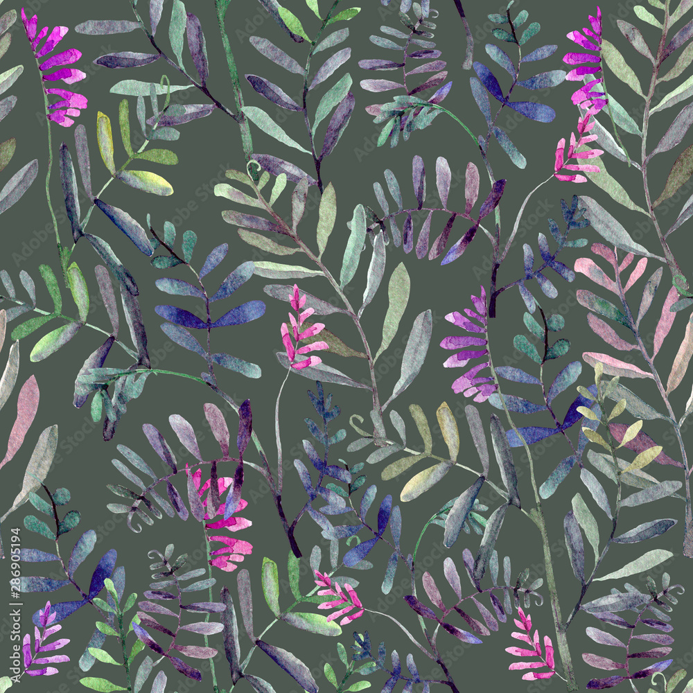 Seamless herbal pattern on green background. Hand drawn leaves and branches