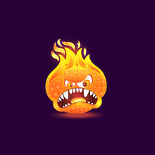 Orange Fire Monster With Angry...