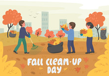 Fall Clean-up Day. Children Cleaning Up Autumn Leaves In The City Park.