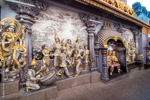 Hindu Goddess Saraswati of Knowledge, Music, dance,art and study statues at Sri Krishnan Temple, Bugis, Singapore Fototapete