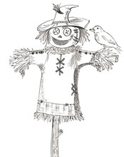 Cartoon Scarecrow With Bird On White Background