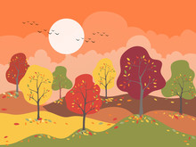 Panoramic Of Countryside Landscape In Autumn With Colour Trend 2019, Vector Illustration Horizontal Banner Of Panorama Mountains Field And Autumn Forst With Leaves Falling On The Ground