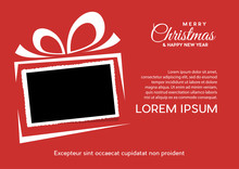 Christmas And Background With Photo, Blank Frame. Vector Template With Picture To Insert